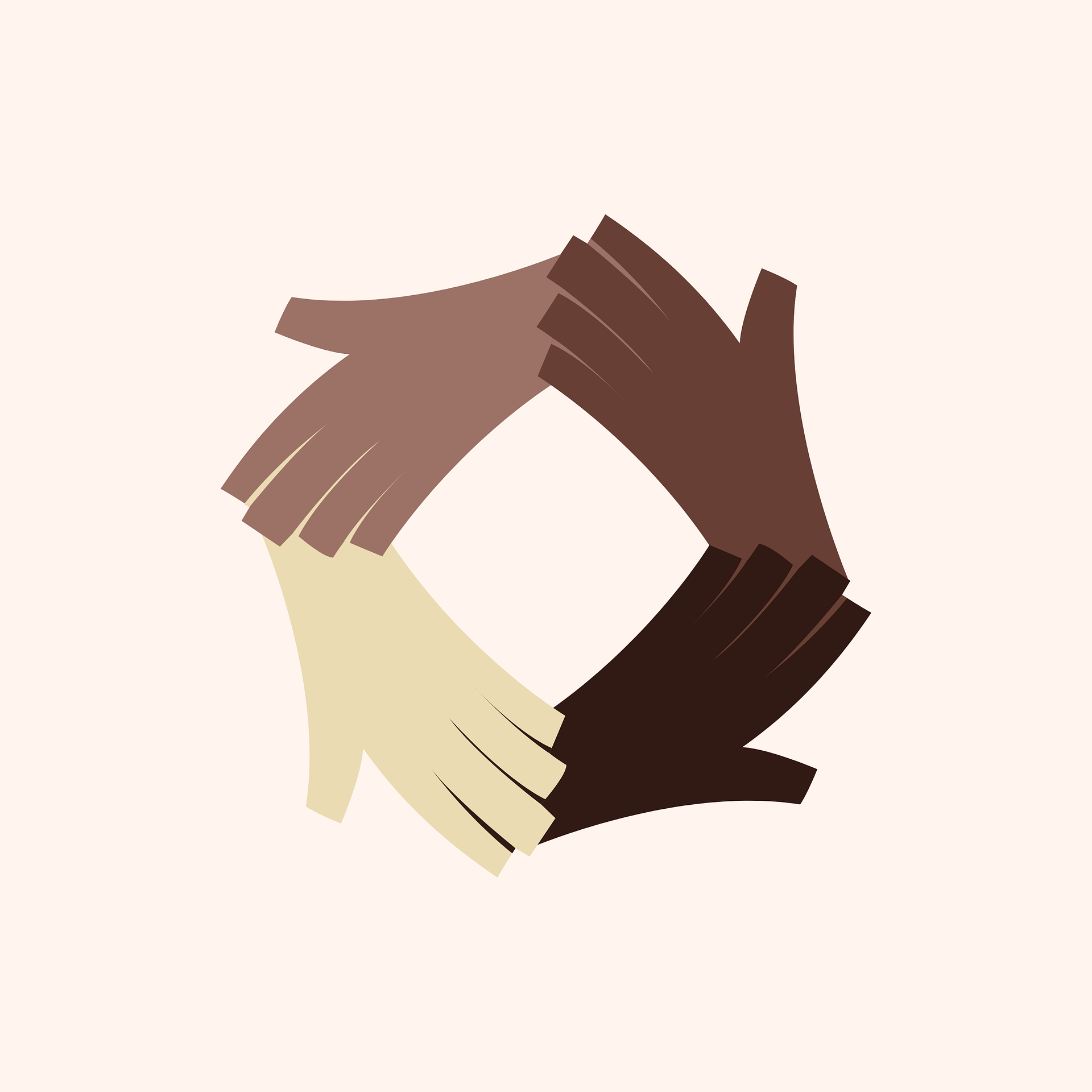 Four hands in varying shades of color joining together in a circle